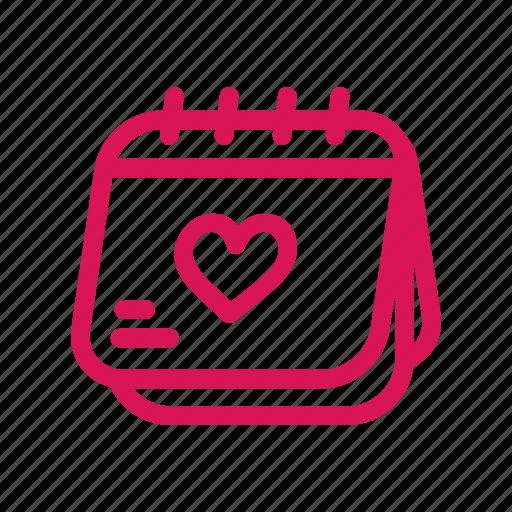 calendar, date, event, heart, love, schedule, valentines icon