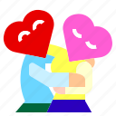 character, couple, cuddle, happy, heart, hug, love icon