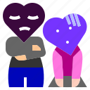 angry, character, couple, discussion, fight, heart, love icon