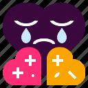 confuse, couple, cry, fight, heart, love, sad icon