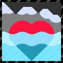 float, heart, ice, iceberg, love, mountain, rock icon