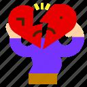 break, broken, character, heart, like, love, up icon