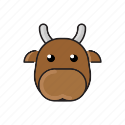 animal, cow, cute, funny, head, pet, zoo icon