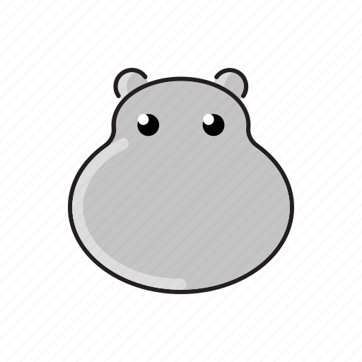 animal, cute, funny, head, hippo, wild, zoo icon