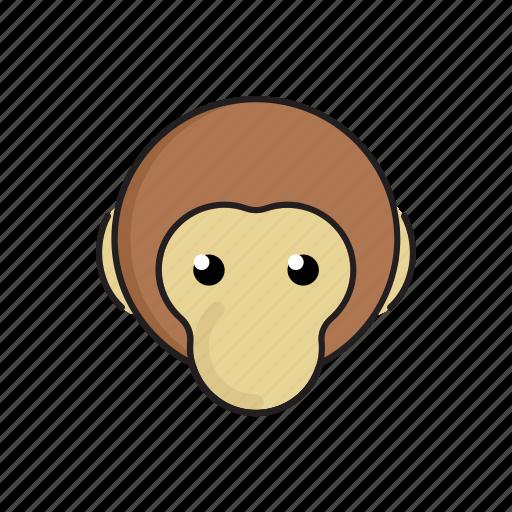 animal, cute, funny, head, monkey, wild, zoo icon