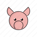 animal, cute, funny, head, pet, pig, zoo icon