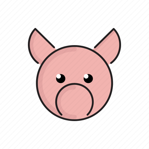 animal, cute, funny, head, pet, pig, zoo icon