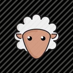 animal, cute, funny, head, pet, sheep, zoo icon