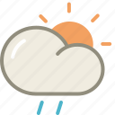 cloud, day, drizzle, rain, sun, forecast, weather icon