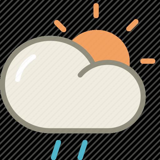 cloud, day, drizzle, forecast, rain, sun, weather icon