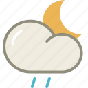 cloud, drizzle, moon, night, rain, forecast, weather icon