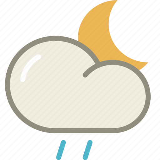 cloud, drizzle, forecast, moon, night, rain, weather icon