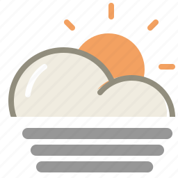 cloud, day, fog, forecast, sun, weather icon