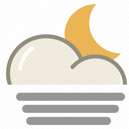 cloud, clouds, cloudy, fog, forecast, moon, night, weather icon