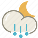 hail, night, cloud, cloudy, forecast, moon, weather icon