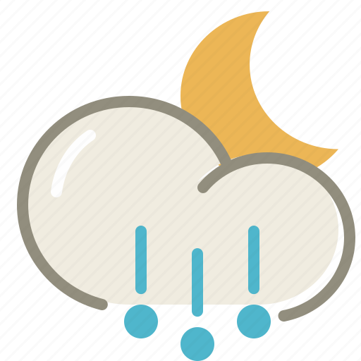 cloud, cloudy, forecast, hail, moon, night, weather icon