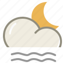 cloud, forecast, lightfog, moon, night, weather icon