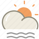 lightfogday, cloud, fog, forecast, sun, weather icon