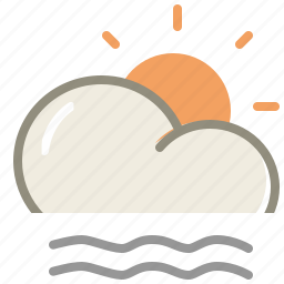 cloud, fog, forecast, lightfogday, sun, weather icon