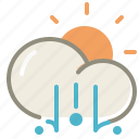cloud, clouds, cloudy, day, fog, forecast, lighthail, sun, weather icon