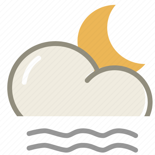 cloud, clouds, cloudy, fog, lightfog, moon, night, weather icon