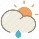 cloud, day, forecast, lightrain, rain, rainy, sun, weather icon