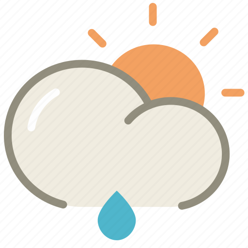 cloud, day, forecast, lightrain, rain, rainy, sun, weather icon
