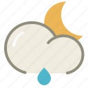 cloud, forecast, lightrain, moon, night, rain, weather icon