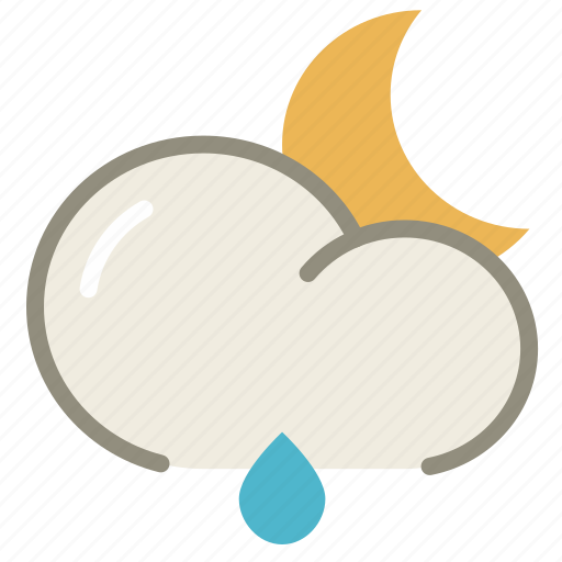 cloud, forecast, lightrain, moon, night, rain, weather icon