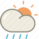 cloud, day, forecast, lightshowers, rain, rainy, sun, weather icon