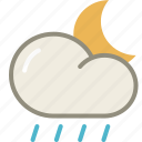 cloud, lightshowers, moon, night, rain, rainy, forecast, weather icon