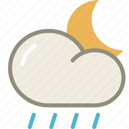 cloud, forecast, lightshowers, moon, night, rain, rainy, weather icon