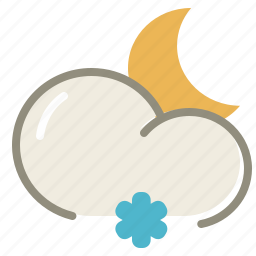 cloud, clouds, cloudy, forecast, lightsnow, moon, night, snow, weather icon