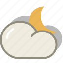 cloud, interval, moon, night, clouds, cloudy, forecast, weather icon