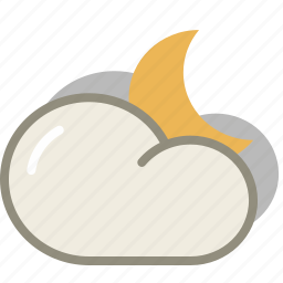 cloud, clouds, cloudy, forecast, interval, moon, night, weather icon