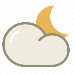 cloud, clouds, cloudy, forecast, moon, night, period, weather icon