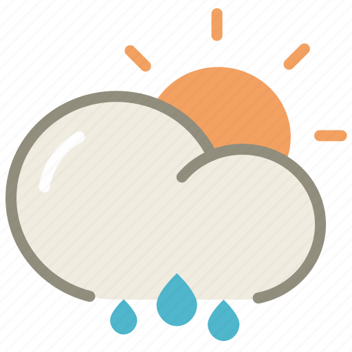 cloud, clouds, cloudy, day, forecast, rain, sun, suny, weather icon