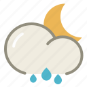 cloud, moon, night, rain, rainy, clouds, cloudy, forecast, weather icon