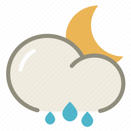 cloud, clouds, cloudy, forecast, moon, night, rain, rainy, weather icon
