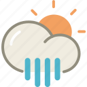 day, rain, showers, sun, cloud, forecast, weather icon
