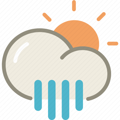 cloud, day, forecast, rain, showers, sun, weather icon