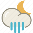 forecast, moon, night, rain, rainy, showers, weather icon