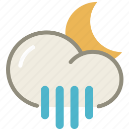 forecast, moon, night, rain, rainy, showers, weather icon