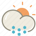day, snow, cloud, clouds, cloudy, forecast, sun, weather, winter icon