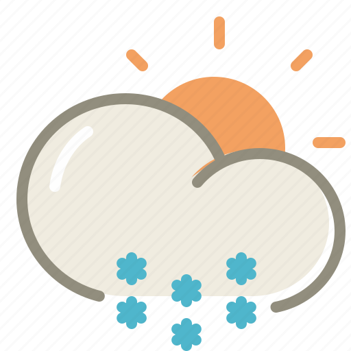 cloud, clouds, cloudy, day, forecast, snow, sun, weather, winter icon