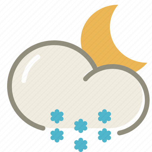 cloud, clouds, cloudy, forecast, moon, night, snow, weather, winter icon