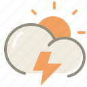 day, thunder, cloud, clouds, cloudy, forecast, lightning, storm, sun, weather icon