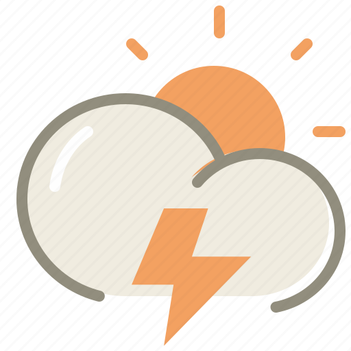 cloud, clouds, cloudy, day, forecast, lightning, storm, sun, thunder, weather icon