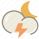 night, thunder, cloud, clouds, cloudy, forecast, lightning, moon, weather icon
