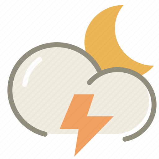 cloud, clouds, cloudy, forecast, lightning, moon, night, thunder, weather icon